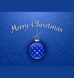 Merry christmas card template bauble on blue vector