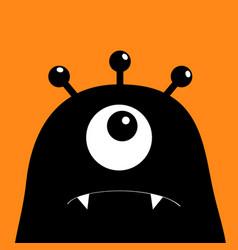 monster head silhouette one eye teeth fang black vector image