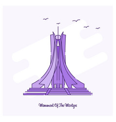 Monument of the martyrs landmark purple dotted vector