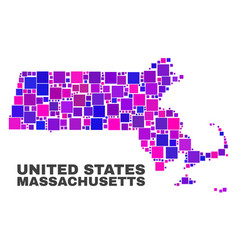 mosaic massachusetts state map of square elements vector image