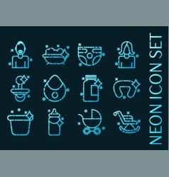 motherhood set icons blue glowing neon style vector image