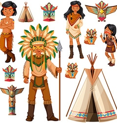 Native American Indian people and tepee vector image