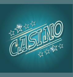 Neon sign luminous word casino on dark background vector