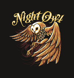 night owl gold art vector image