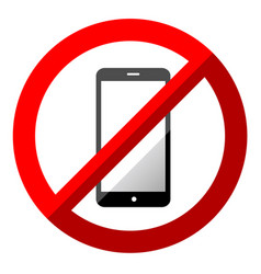 no mobile phone sign symbol on white background vector image