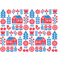 Nordic scandinavian folk art seamless pattern vector