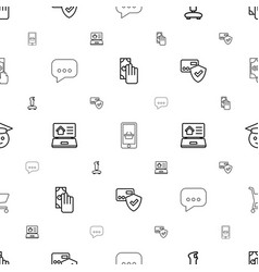 Online icons pattern seamless white background vector