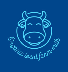 organic local farm milk outline icon with cow head vector image