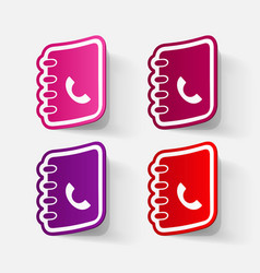 Paper clipped sticker telephone directory vector