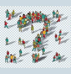 people big group question symbol isolate vector image