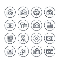 photography line icons set on white vector image
