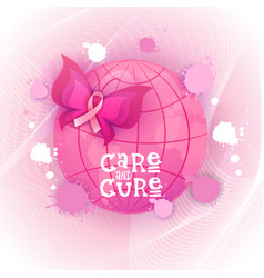 pink ribbon butterfly breast cancer awareness vector image