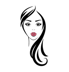 Pretty young looking woman with black eyes vector