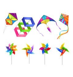 Realistic kite wind mill toy icon set vector