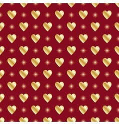 Red gold seamless valentine background vector image