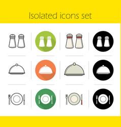 restaurant kitchen equipment icons set vector image