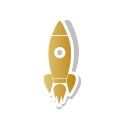 rocket sign golden gradient vector image