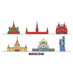 Russia moscow flat landmarks vector