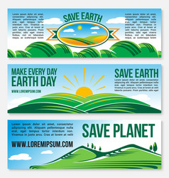 save planet nature banners for earth day vector image