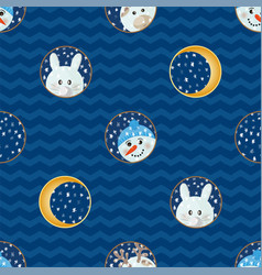 seamless pattern with animal cartoon flat labels vector image