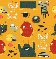 seamless pattern with cute colorful monsters on vector image