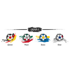 set football or soccer national team group f vector image