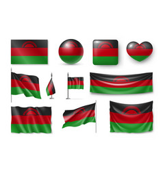set malawi flags banners banners symbols vector image vector image