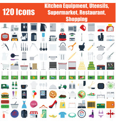 set of 120 icons vector image