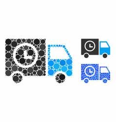 shipment schedule van mosaic icon round dots vector image