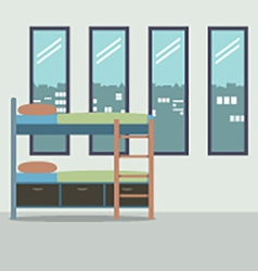 Side View Of Bunk Bed With Four Glass Windows vector image