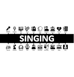 Singing song minimal infographic banner vector