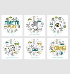 six vr banners - entartaiment concepts vector image