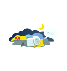 small robot sleeps lying on pillow has arrived vector image