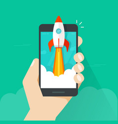 Startup concept flat style quick rocket vector