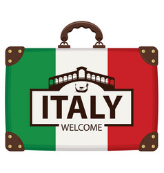 suitcase in colors of italian flag vector image
