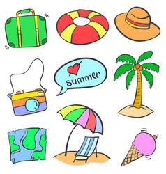 Summer holiday object of doodles vector