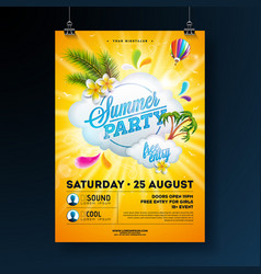 summer party flyer design with flower palm vector image