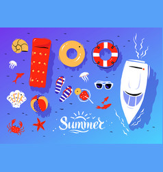 Summertime top view set vector