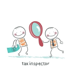 Tax inspector with magnifying glass looking at the vector
