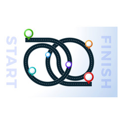the road from point start to finish colorful map vector image