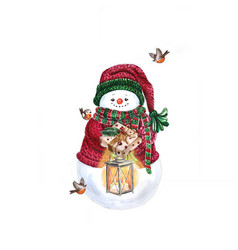 Watercolor snowman with lamp holiday decoration vector