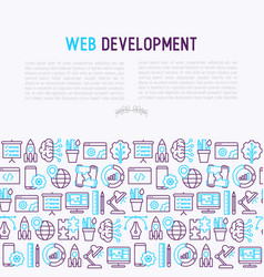 web development concept with thin line icons vector image