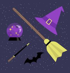 witch set broomstick hat magic ball bat and magic vector image