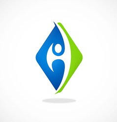 eco square people abstract logo vector image