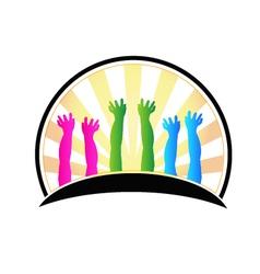 Hands of happy children logo vector image