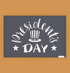 presidents day white text on chalkboard vector image vector image