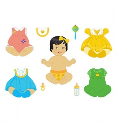 Asian baby girl vector image vector image