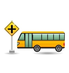 bus yellow with crossroad vector image