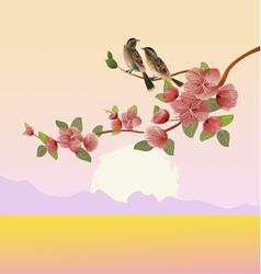 Evening in the garden blooming cherry vector image
