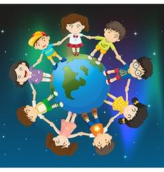 Kids around the globe vector image vector image